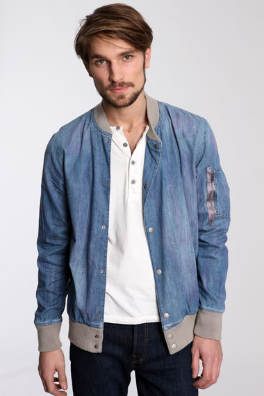 Paul Smith - Veste de baseball en jean délavé-1