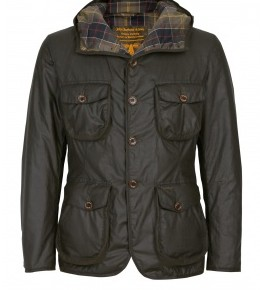 Barbour - Olive Padded Waxed Hooded Hunter Jacket
