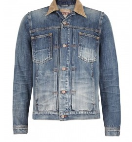 Edwin - Vintage Wash Cord Collar Denim Work Jacket