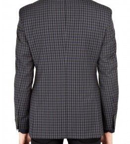 Hugo Boss Black Charcoal Navy Gingham Wool Blazer-2