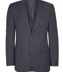 Hugo Boss Black Charcoal Navy Gingham Wool Blazer-3