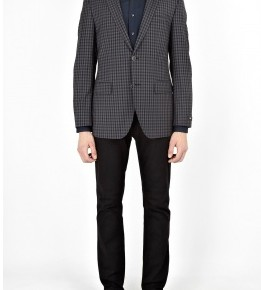 Hugo Boss Black Charcoal Navy Gingham Wool Blazer-4