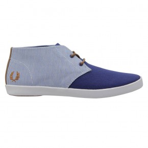 Fred Perry - Chaussures bleues rayées Byron Canvas