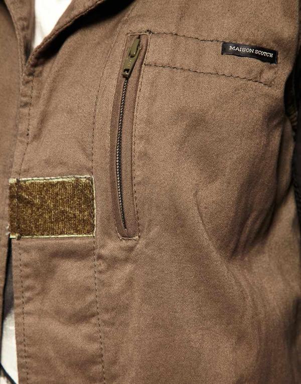 ASOS - Maison Scotch - Veste style militaire avec manches en cuir