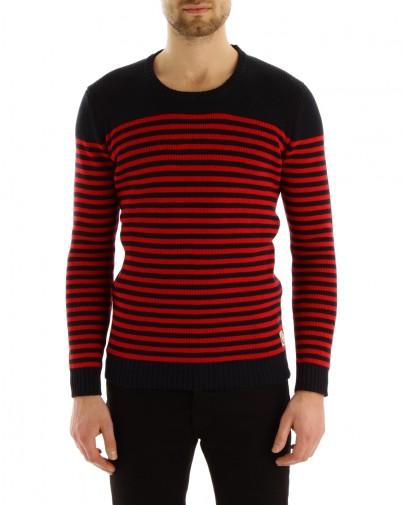 MENLOOK - Suit - pull rouge et bleu marine