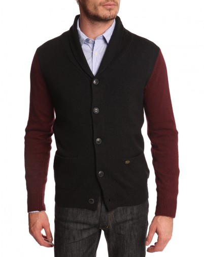 Scotch and Soda - Cardigan bleu nuit et bordeaux en laine