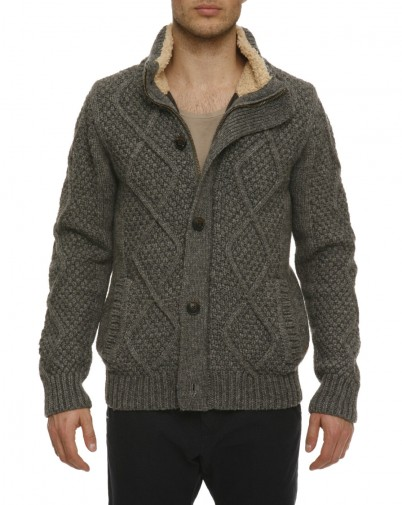 Scotch and Soda - Cardigan Gris torsadé