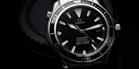 "Omega Seamaster Professional Custom Base: SMP Model 2254.50 2230.50 ""Non-AC"" Dial 2201.50 Bezel and Seconds Hand  A custom Seamaster Professional, integrating the parts of the Omega Planet Ocean descended from the legendary 1960s Seamaster 300m divers without the bulk of the PO's 600m case. The non-AC dial has the classic big triangle at 12 and applied indices and logo."