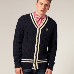 Fred Perry - Cardigan style tennis à torsades