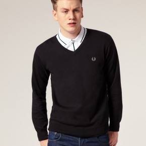 Fred Perry - Pull en coton col V