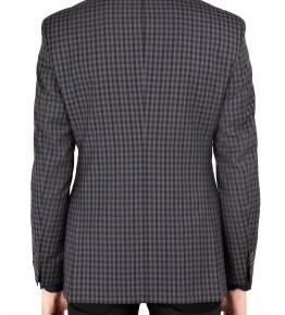 Hugo Boss Black Charcoal Navy Gingham Wool Blazer-2